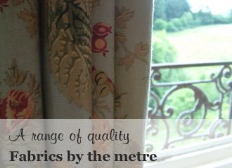 Fabrics for curtains and cushions, chunky wooden curtain poles
